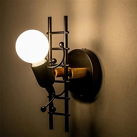 Luz de pared humanoide cubierta, creativo Pequeño hombre subir escaleras Lámpara de pared LED de pared moderna aplique de la luz para el dormitorio del sitio de niños Pasillo restaurante de escalera: