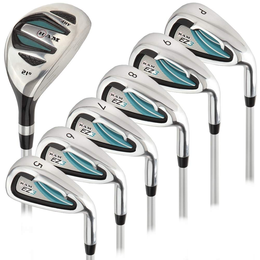 Ram Golf EZ3 Ladies Right Hand Iron Set 5-6-7-8-9-PW - Free Hybrid Included by Ram