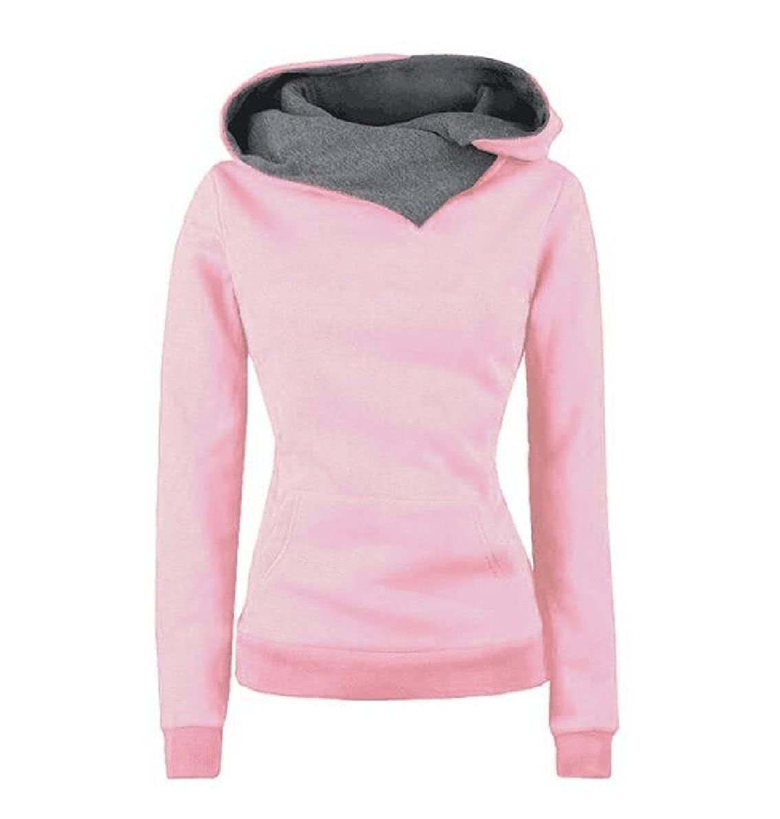Kankanluck Women Pullover Hit Color Slim Simple Tunic Hoodie Sweatshirt