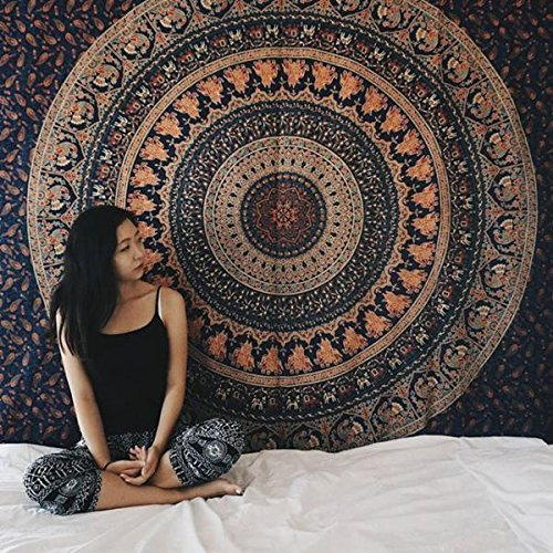 Hippie Tapestry, Hippy Mandala Bohemian Tapestries, Indian Dorm Decor, Psychedelic Tapestry Wall Hanging Ethnic Decorative Tapestry (Queen (84 X 85 inches Approx)(214 X 226 cms), Pastel Navy -