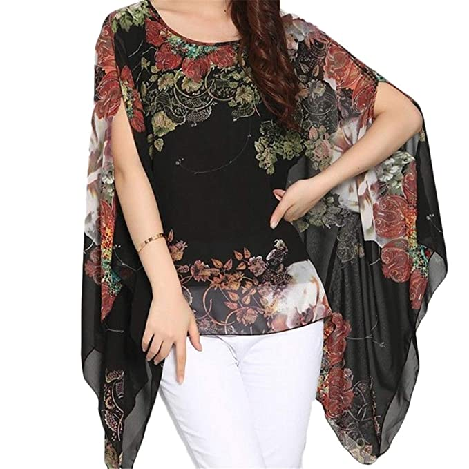 3f8e29c64c iNewbetter Women's Chiffon Boho Tunic Top Batwing Blouse Loose Beachwear  Cover Up Shirt Black