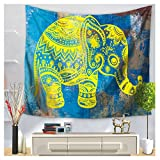 WCHUANG Elephant Tapestry Bohemian Tapestries Blue Wall Art Decor (L, 5)