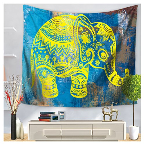 WCHUANG Elephant Tapestry Bohemian Tapestries Blue Wall Art Decor (L, 5) by WCHUANG5