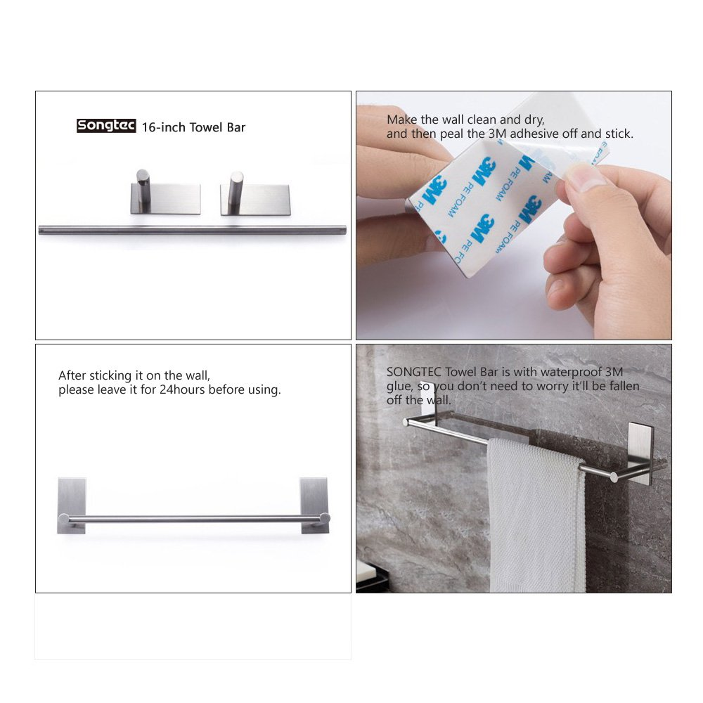 Bathroom Towel Bar 16inch, Easy Install with Self-Adhesive, NO Drilling on Walls, Premium SUS304 Stainless Steel - Brushed by Songtec (Image #9)