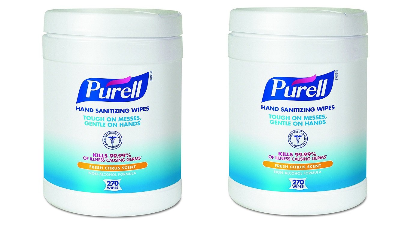 PURELL Hand Sanitizing Wipes - Disinfecting Wipes with Fresh Citrus Scent, 270 Count in Eco-Fit Canister - 9113-06 (2 X Pack of 6)