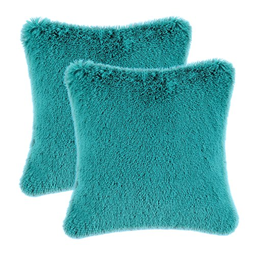Pack of 2 CaliTime Super Soft Throw Pillow Covers Cases for Couch Sofa Bed, Solid Plush Faux Fur 18 X 18 Inches, Teal