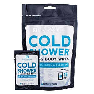 Duke Cannon Cold Shower Cooling Field Towels Pouch, 15 Individually Wrapped Face + Body Wipes
