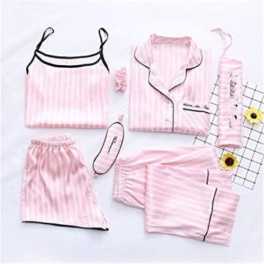 Memoriesed2018 Ladies Sleep Wear 7 Pieces Pijamas Pink Striped Pyjamas Women Sleepwear Sets Spring Summer Pajamas