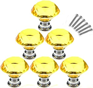 AKOAK 6 Pcs 30mm Yellow Diamond Shape Crystal Glass Cabinet Knob Used for Cabinet, Drawer, Chest, Bin, Dresser, Cupboard, Etc