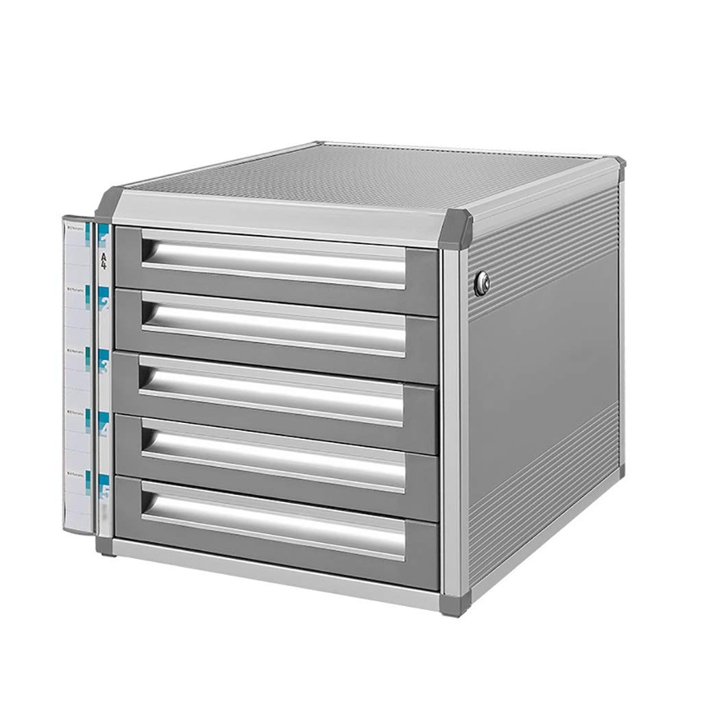 Bxwjg Desktop File Cabinet, 5 Drawers with Lock Safety Cabinet File Storage Cabinet- Sliver(Size:12.6in14.4in11.92in) by Bxwjg