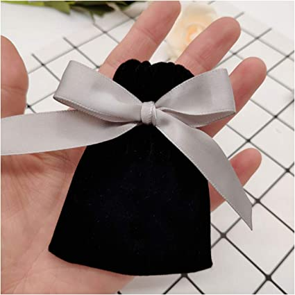 Velvet Drawstring Jewelry Gift Bags Pouches Wedding Favor Gray Pink Green White