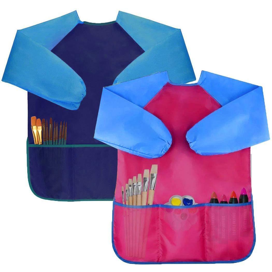 eubell キッズアートスモック 子供用防水アーティストペイントエプロン 長袖 ポケット3個付き 2~6歳用  ダークブルー B07M5XT9Q1