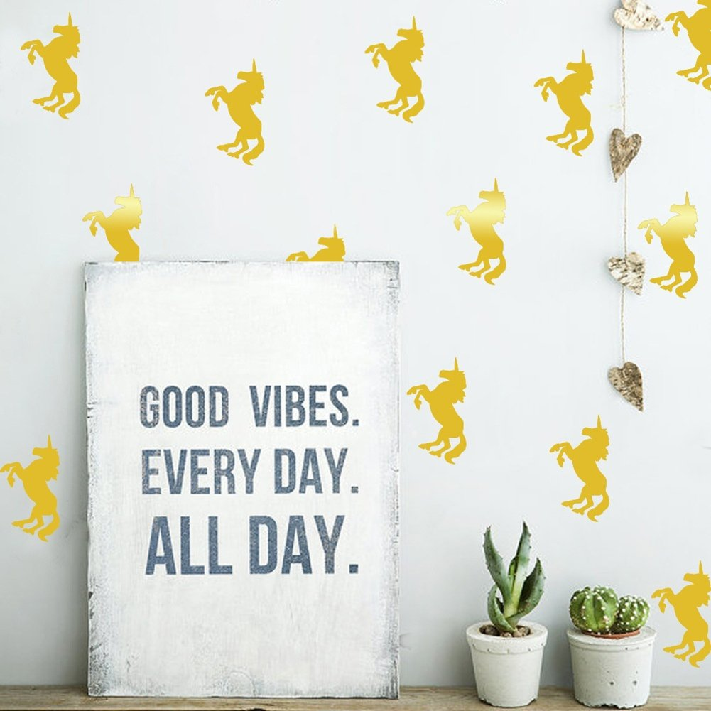 Bluelans® 10pcs Cute Unicorn Wall Stickers Decal DIY Removable Art Vinyl Wall Decal Sticker Mural Nursery Room Home Decoration Kid's Room Children's Bedroom Playroom Decorations (Gold)