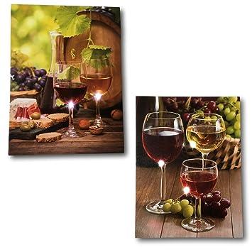 Amazon.com: Wine Decor Wall Art - Set of 2 LED Canvas Wine Prints ...