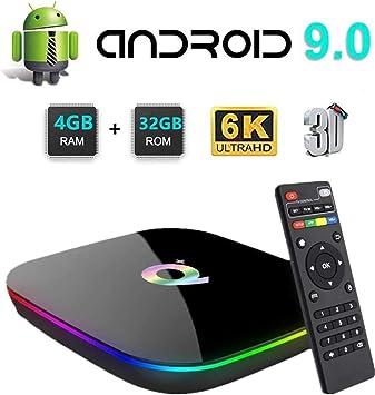 Android TV Box 9.0,HOMI Q Plus Android Box 4GB RAM 32GB ROM H6 Quad Core Cortex-A53 Smart TV Box, soporta 6K de resolución 3D 2.4GHz WiFi Ethernet USB 3.0 Smart TV Box: