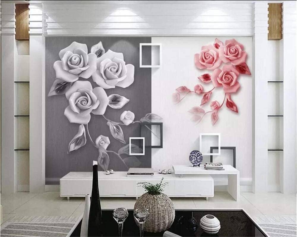 NIdezuiai Mural,Customize 4D Wallpaper Plant Series Two-Tone Embossed Rose Large Silk Mural Hd Print Art Wall Painting Poster Picture for Living Room Bedroom Home Decor