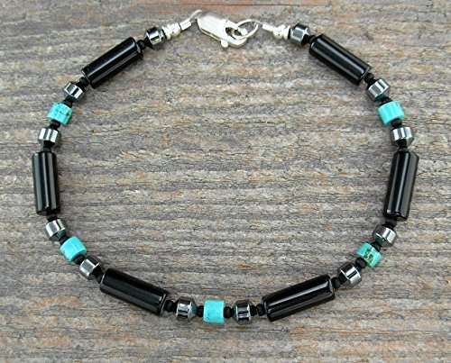Hematite Thin Mens Bracelet in Black Onyx and Turquoise