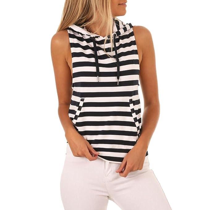 Levifun Camiseta de la Ropa Tops para Mujer, Stripe Pocket Encapuchado Casual Moda Verano Casual