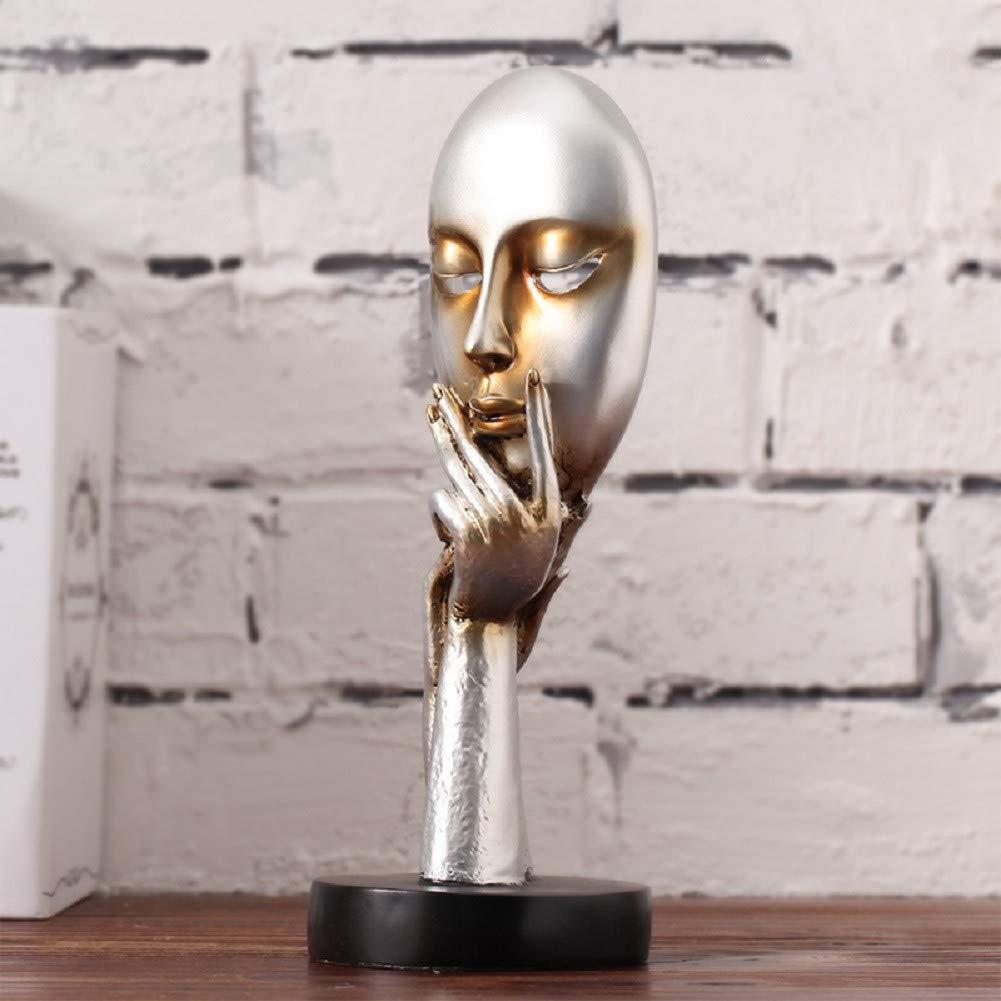 Moderne Cr/éatif Penseur Le Silence est d/'Or Abstrait Sculpture,Style Nordique R/étro Ornement Art pour Office Salon-C 17x17x35cm 7x7x14inch