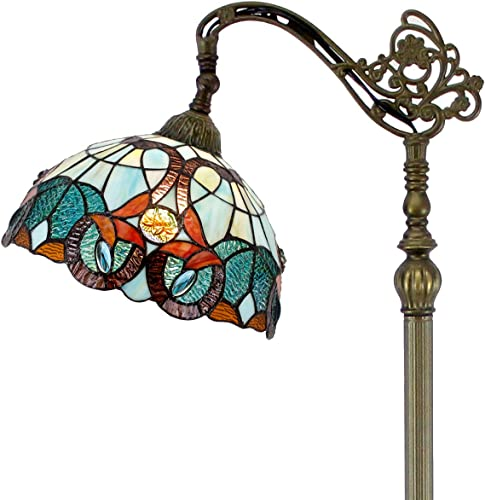 Tiffany Style Reading Floor Lamp Lighting W12H64 Inch Green Blue Stained Glass Floral Lampshade Antique Adjustable Arched Standing Base S802 WERFACTORY LAMPS Girlfriend Lover Bedroom Living Room Gift