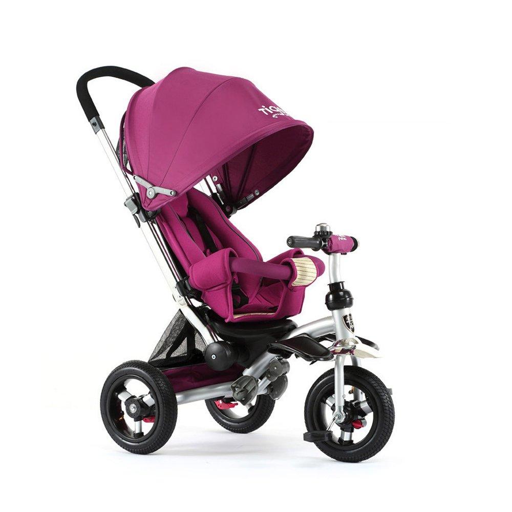 Triciclo de los niños, puede tumbarse Triciclo del bebé Carro de bebé Tres bicis 950  520  1050m m A++ (Color : Purple)