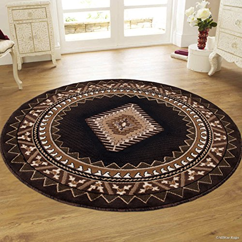 Allstar 5'R Expresso and Beige Classic Navajo Machine Carved Effect Round Accent Rug with Ivory and Black Southwestern Geometric Bordered Medallion Design (4' 11