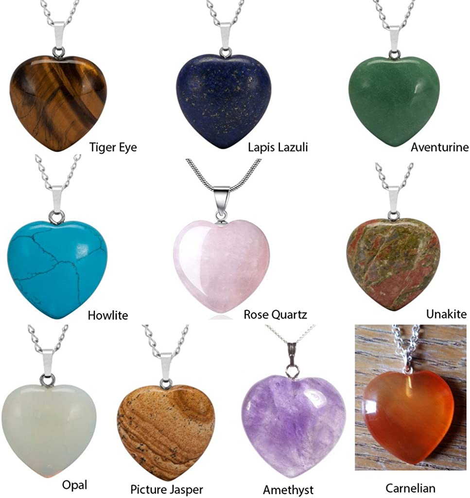 Natural Gemstones Heart Reiki Chakra Pendants Real Leather Necklaces /& Earrings