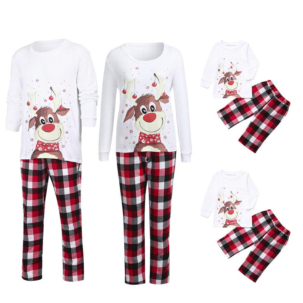 Zerototens Family Pajamas Matching Sets Christmas Sleepwear Mom&Dad&Me  Crewneck White Deer Print T-Shirt Tops+Red Plaid Pants Outfit Set Xmas  Nightwear 96182c120