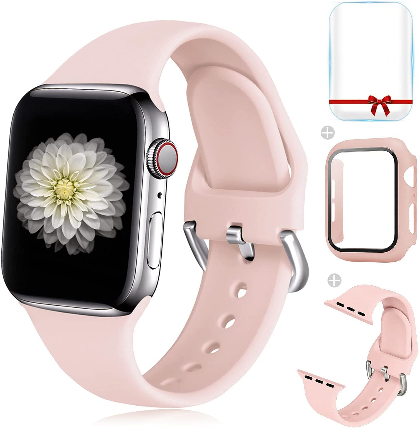 Foranyo 3 in 1 Compatible with Apple Watch Band 44mm 42mm 40mm 38mm, Soft Silicone Sport Replacement Strap Watch Band for Women & Men, Case with Glass Screen Protector Compatible with iWatch for Series SE 6 5 4 3 2 1 (Pink, 44mm)