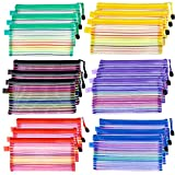 18 Pcs 6 Colors A6 Size Zipper Mesh Pouch, Mesh Cosmetic & Invoice File Bag, Zipper Holder Bags for Personal and Office Supplies.