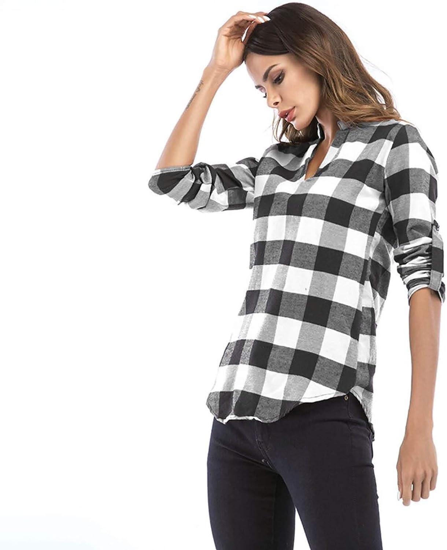 NOUNLIE Women Buffalo Plaid Shirts,Long Sleeves V Neck Blue Versatile Fit Blouse