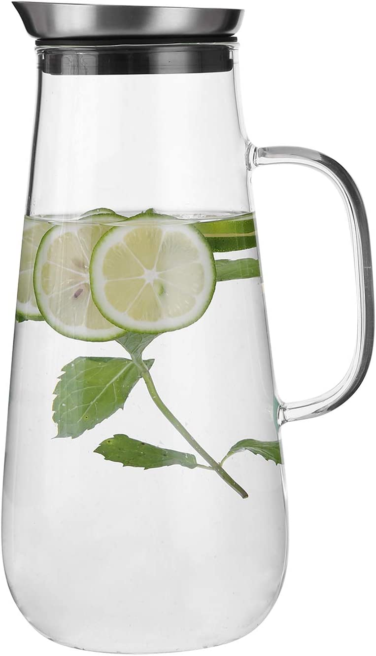 Emica 50oz/1500ml Glass Pitcher with Handle and Stainless Steel Silicone Filter Lid, Borosilicate Glass Carafe, Water Jug, Juice Pitcher for Homemade Beverage/ Serving Wine/ Coffee/ Milk/ Iced Tea
