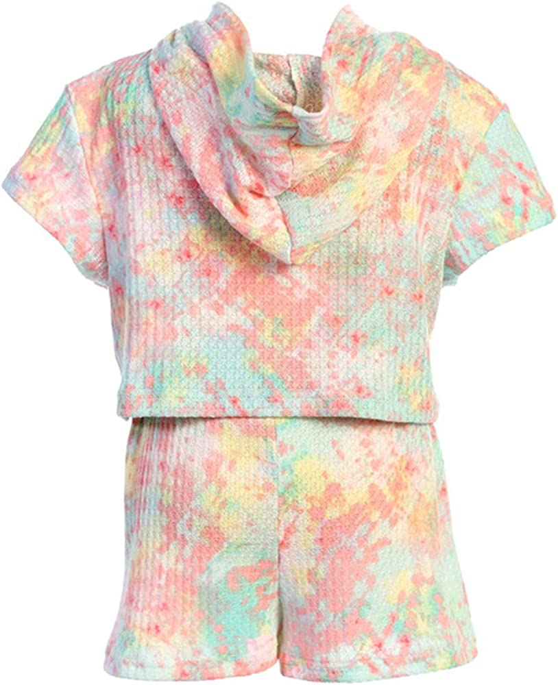 Little Girls Short Sleeve Tie Dye Hoodie Top Short 2 Pieces Clothing Short Set