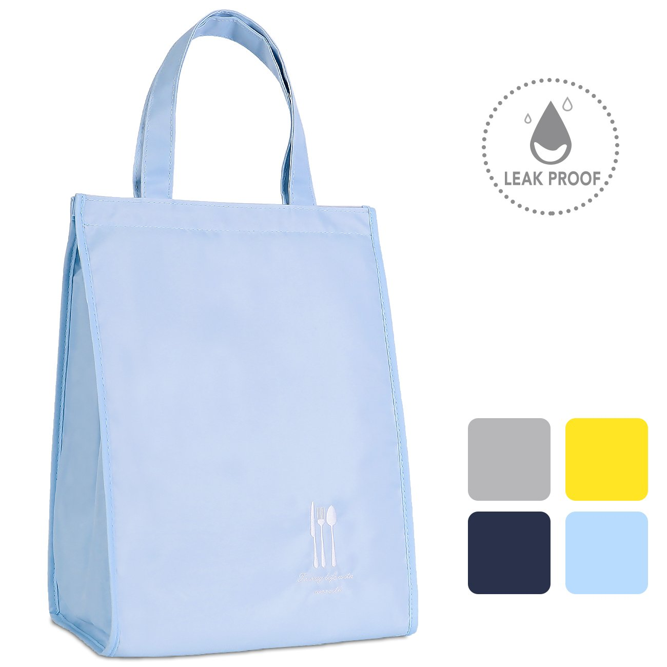 HOMESPON Reusable Lunch Bags, Water Proof Fabric with Insulated Aluminum Foil, Lunch Box for Women, Men, Students, Office, Picnic- Large (Baby Blue)
