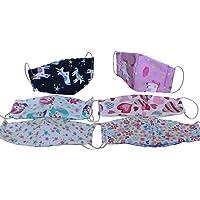Dalay-Cubrebocas de NIÑA PEQUEÑA, paquete de 6 piezas, en tela popelina algodon, reversible, lavable, con filtro de seguridad en medio, armado entre dos capas de tela, tamaño especial para niños de 1, 2, 3, y 4 años.