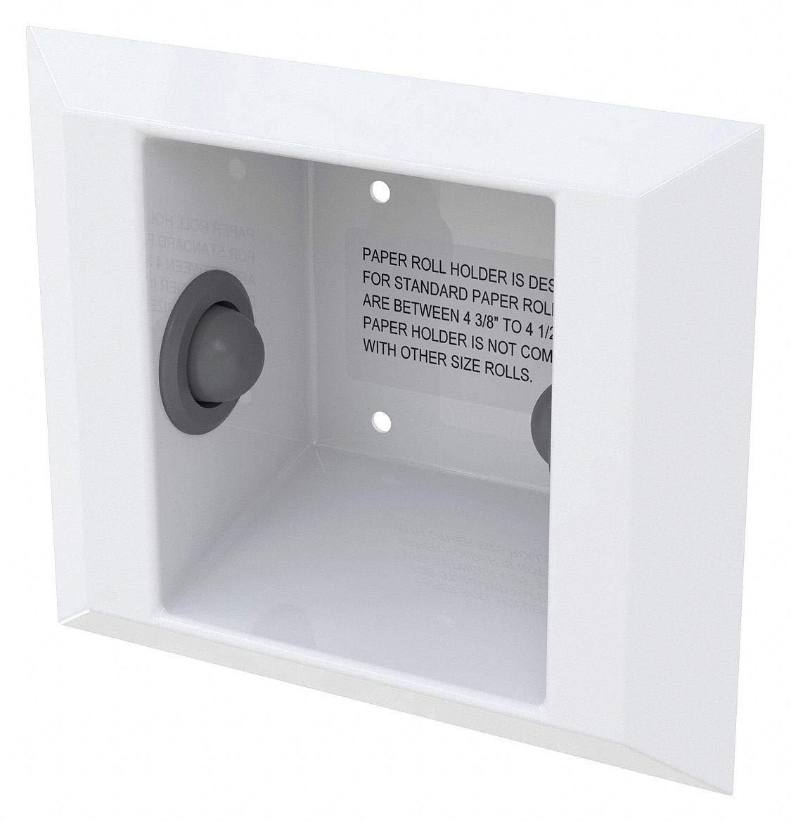 Toilet Paper Holder, White, SS, 9-1/16'' L