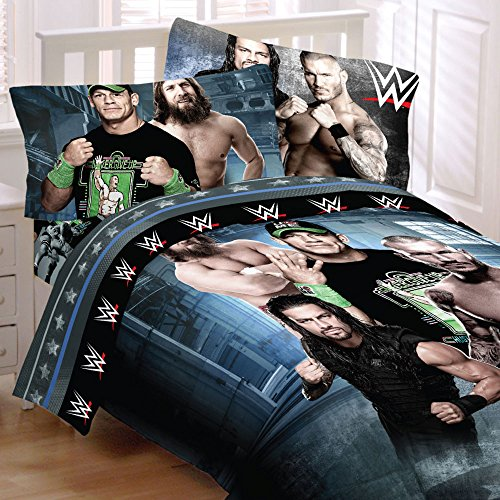 WWE 4 pc Twin ''Superstars'' Comforter & Sheet Set - John Cena, Daniel Bryan, Randy and Roman by WWE