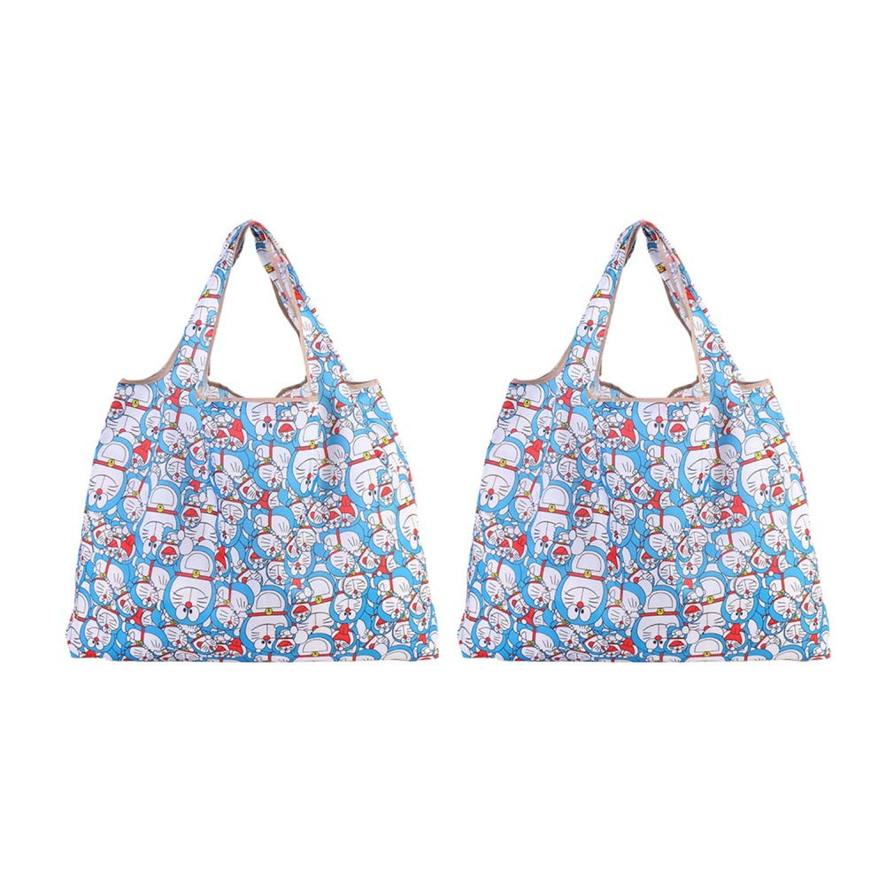 Reusable Grocery Shopping Bags Doraemon Foldable Tote Recycle Shopping Bag 2 Pack