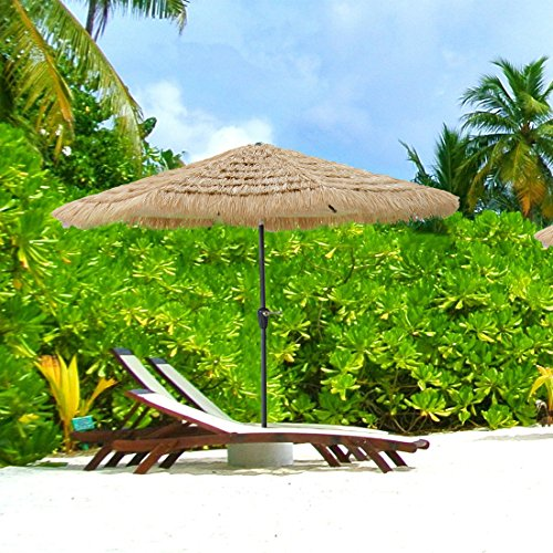 Caymus 9 ft Hula Thatched Tiki Umbrella Hawaiian Style Beach Patio Umbrella Natural Color 8 Ribs