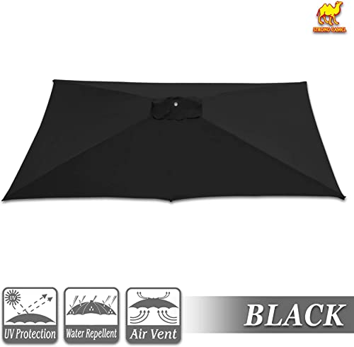 Strong Camel Replacement Umbrella Canopy for 10ft x 6.5 ft 6 Ribs Canopy Only Black