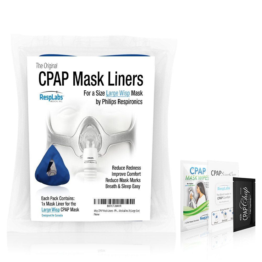 RespLabs CPAP Mask Liners Compatible with Respironics Wisp Masks — Face Preserving Comfort Covers | Machine, Mask & Equipment Supplies [Large Size]