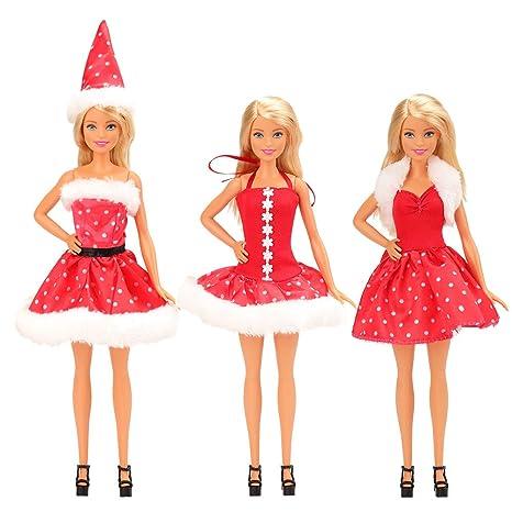 Miunana Abiti Vestiti Ed Accessori Per Barbie Dolls Bambola (Natale ... ebe36675a11