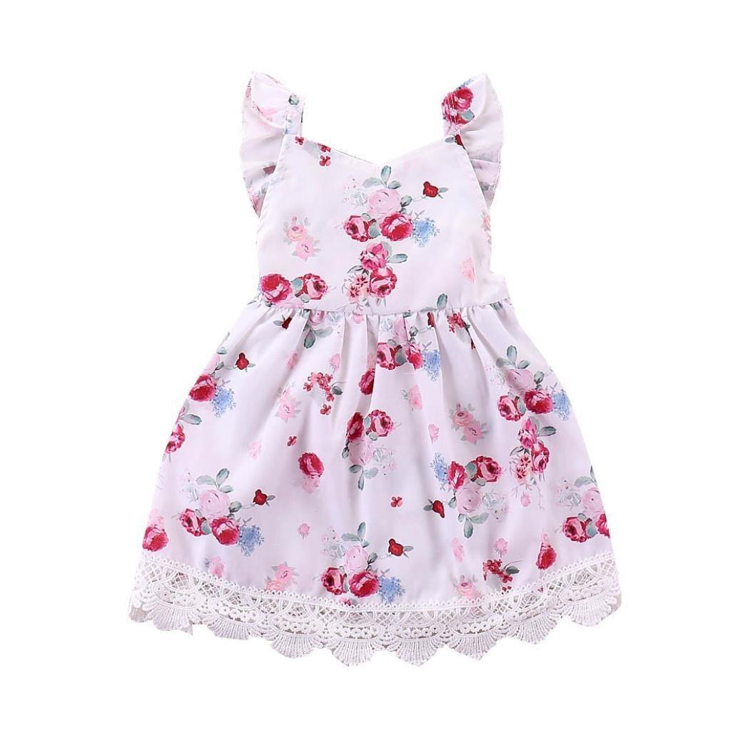 3caf9b312c422 Enfants Filles Robe Floral Dentelle Vêtements Robe Dos Fleuri en Dentelle  pour Enfants 1-4 Ans ...