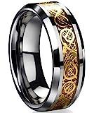 Tanyoyo Dragon Scale Dragon Pattern Beveled Edges Celtic Rings Jewelry Wedding Band for Men Women Size 5-14