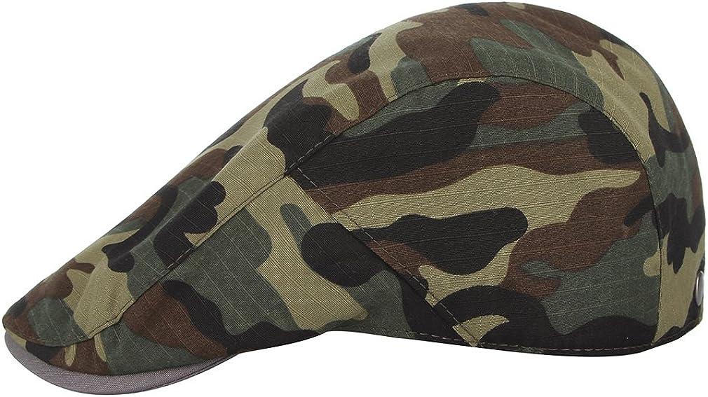 Y-BOA B/éret Camouflage Casquette Plate Homme Chapeau de Soleil Visi/ère R/églable Anti-UV Vintage pour Vacances Loisir Voyage