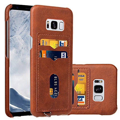 HAOTP Galaxy S8 Card Case,S8 Leather Wallet Case, 2 Credit Card ID Holder Slots Executive Snap On Cover Case for Samsung Galaxy S8 - (Plating Executive Cover)