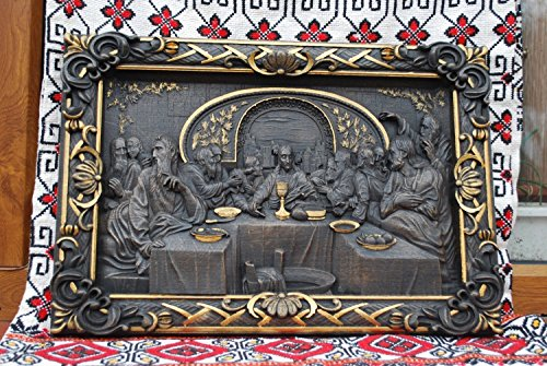Dark Last Supper christian gift Wood Carved religious wall art FREE ENGRAVING FREE SHIPPING