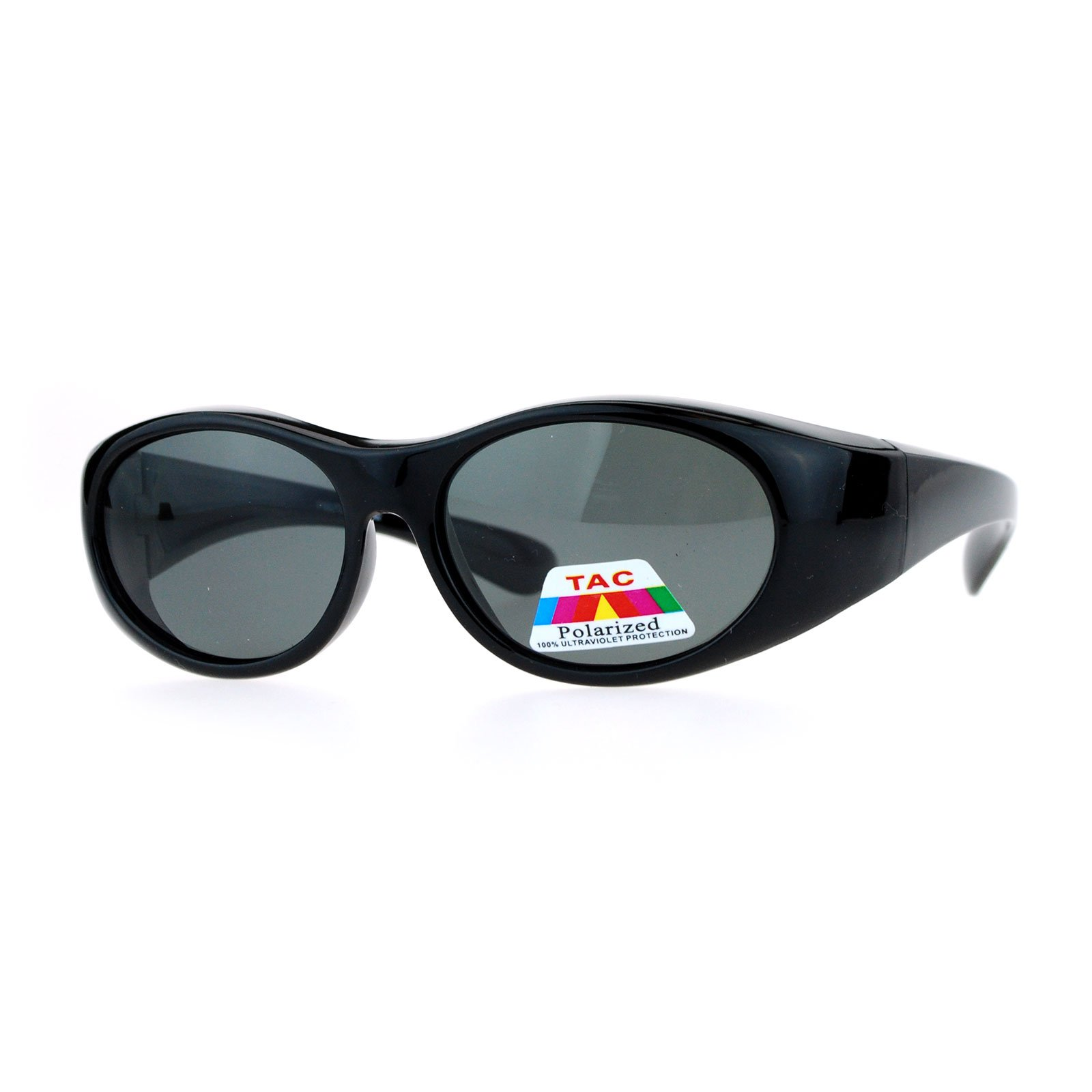 Kid's Polarized Fitover Sunglasses Over the Glasses Shades for Boys Girls (black, 49)