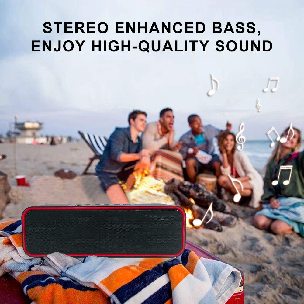 Bluetooth Speaker, UNICOM Wireless Portable Bluetooth Speaker 4.0 Stereo Enhanced Bass, FM Radio, Hands-Free Calling Built-In Microphone, Micro TF SD Card, USB Input, AUX Line-In