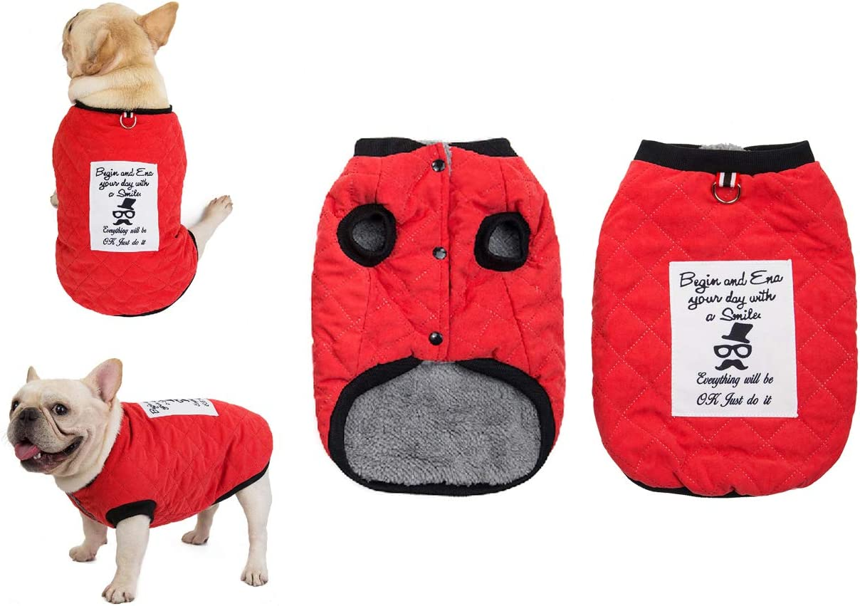 f/ür kleine mittlere Hunde Herbst und Winter warm Kost/üm Outfit Tineer Pet Soft Fleece Coat franz/ösische Bulldogge Kleidung Wildleder Plaid Baumwolle verdicken Jacke